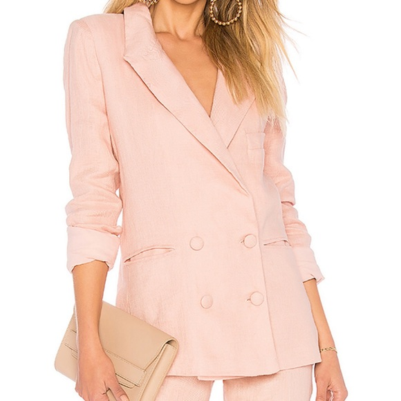 Lovers + Friends Jackets & Blazers - Lover and Friends Pink Fanning Linen Blazer